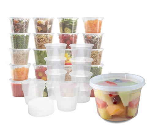 Plastic Food Storage Containers with Lids - Restaurant Deli Cups/Great for Slime, Party Supplies, Meal Prep and Portion Control - Leakproof and Microwave Safe Takeout Set - BPA Free (16 oz)