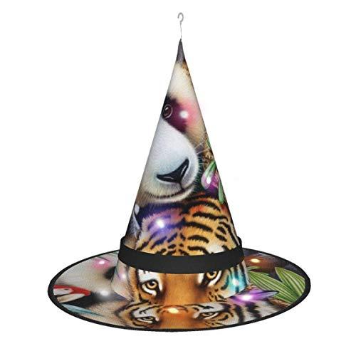 rouxf Animal Magic Jigsaw Puzzle Decoraciones de Halloween Sombrero de Bruja Luces Que Brillan para la Fiesta en casa Patio Jardín al Aire Libre Árbol