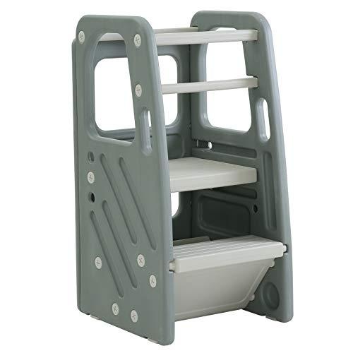 SDADI Childrens Step Stool with Three Adjustable Heights, Plastic Kids Stool Grey PLT01DG