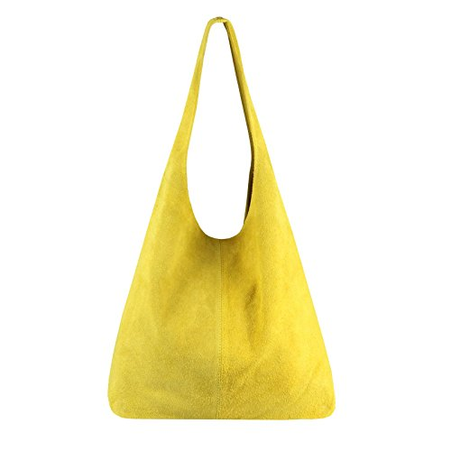 OBC Made IN Italy Damen Leder Tasche Handtasche Wildleder Shopper Schultertasche Hobo-Bag Henkeltasche Beuteltasche Velourleder (Gelb (Wildleder))