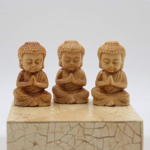 Asia Lifestyle Mini figuras de Buda (6,5 cm), cedro, madera, 3 unidades de regalo