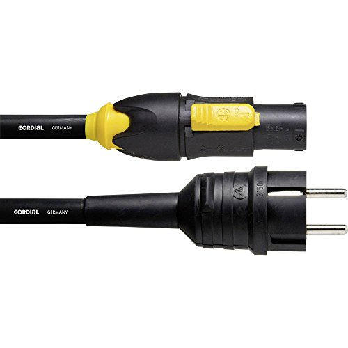 Cordial CFCA 1,5 S-TRUE 1-PVC Strom Anschlusskabel [1x Schutzkontakt-Stecker - 1x PowerCon-Stecker] 1.50 m Schwarz
