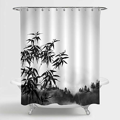 """MitoVilla Watercolor Bamboo Forest Shower Curtain, Hand Drawn Brush Black and White Nature Scenic Art Print Bathroom Curtain for Asian Home Art Decor, 72"""" W x 78"""" L Long"""