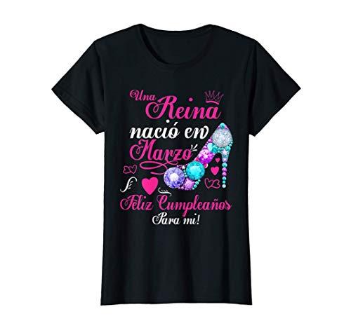 Mujer Camiseta Cumpleaños Mujer, Una Reina nació en Marzo Camiseta