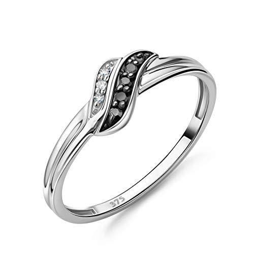 Orovi Schmuck Damen Ring Weißgold 0.06 Ct Diamantring mit modernem design und schwarze Diamanten Ring aus 9 Karat (375) Gold und Diamanten Brillanten