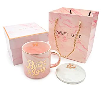 Boss Lady Pink Marble Ceramic Coffee Mug 11.5 Oz with Coasters Boss Lady Mug Gifts for Women Mom and Girl Female Entrepreneur Business Owner Coffee Cup for Women
