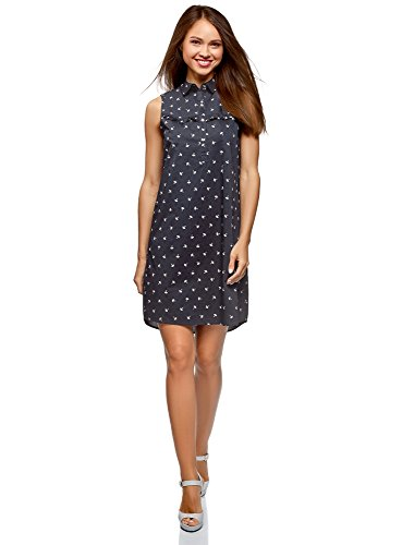 oodji Ultra Damen Ärmelloses Baumwoll-Kleid, Blau, DE 38 / EU 40 / M