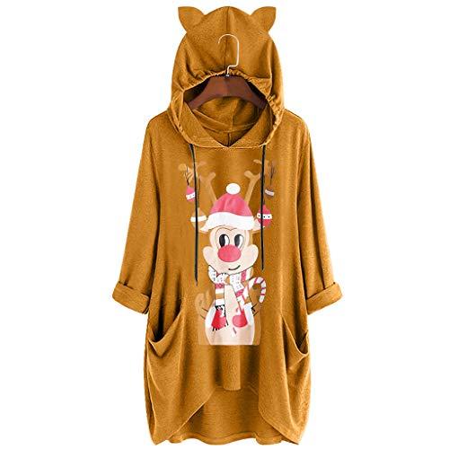 Automne et Hiver Femmes Occasionnels Noël col Rond imprimé Oreilles de Chat Sweat à Capuche Wapiti élan à Manches Longues Robe Poche Cordon Mini Mode Chemise