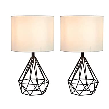 SOTTAE 16  Modern Lamp Black Hollowed Out Base Livingroom Bedroom Bedside Table Lamp, Desk Lamp With White Fabric Shade(Set of 2)