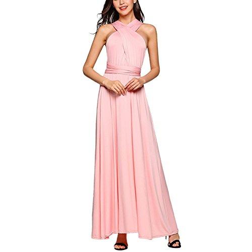 Comeon Frauen Sexy Lange Abendkleid Elegant V-Ausschnitt Bodenlangen Multi-Way Party Cocktailkleid Brautjungfer Kleider, Rose, M