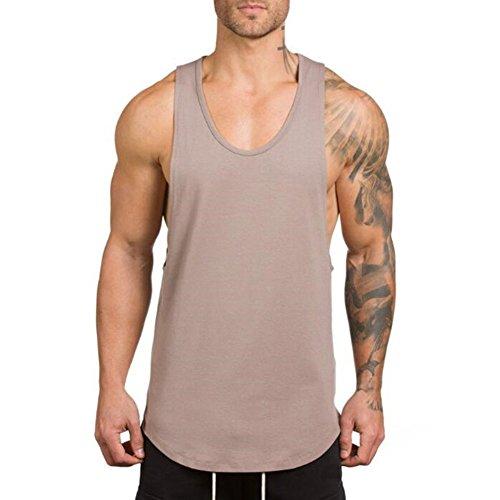 ZUEVI Men's Muscular Cut Open Sides Tank Tops Bodybuilding T-Shirts(Khaki-M)