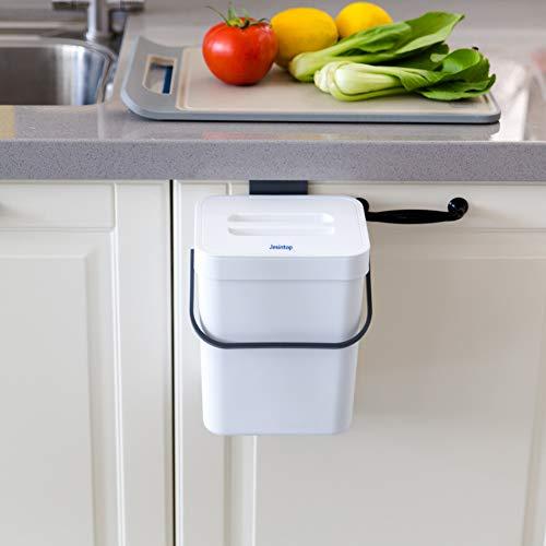 Jesintop Kleiner Komposteimer mit Deckel, weißer Kunststoff-Abfallkorb, 5 l, montierbarer Komposteimer zum Aufhängen, für Büro, Hundekotabfall, Komposteimer für Küche, Mülleimer für Schlafzimmer