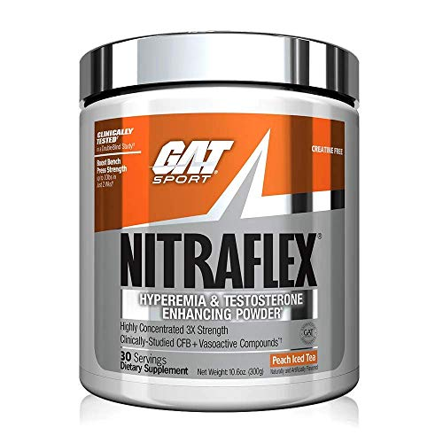 GAT Sport, NITRAFLEX Testosterone Boosting Powder, Increases Blood Flow, Boosts Strength and Energy, Improves Exercise Performance, Creatine-Free (Peach Iced Tea,30 Servings)