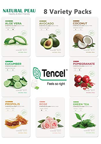 [8 Variety Packs] Natural Peau Hydrating Collagen Essence Face Mask (28 g / 0.99 oz.)