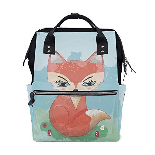 RN Cool Beauty Fox Travel Rugzak Grote Capaciteit Schouder Luiertas voor Womens Mens