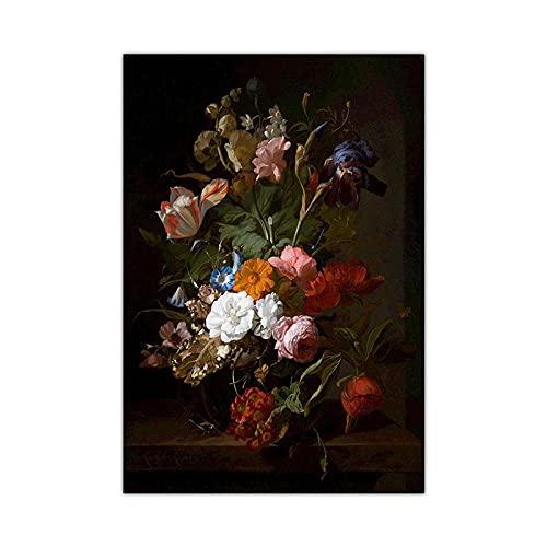 YCHND Cartel de Flores Vintage Cuadro de Arte Mural Flores Planta Cuadro de Lienzo Cuadrosde Moda e Impresiones Sala de Estar Decoración de la Pared del hogar 50x70cm Sin Marco