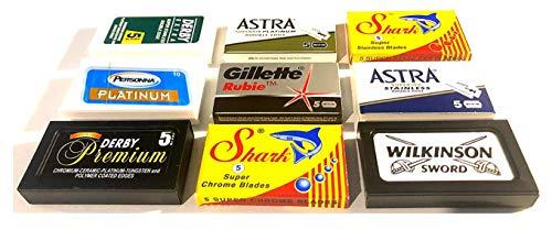 Astra-Derby-Shark-Wilkinson-Personna 50 Quality Double Edge Razor Blades Sampler (9 different brands)
