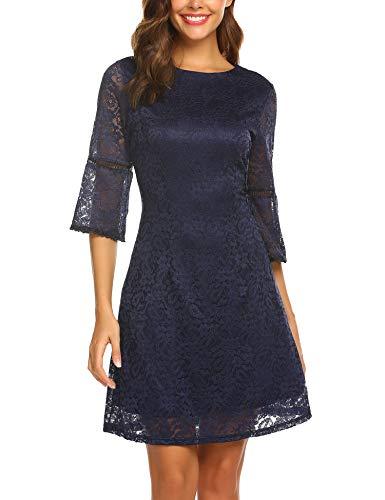 Zeagoo Damen 3/4 Flare Ärmel Floral Lace Elegant A-Line Cocktail Party Mini Kleid - Blau - Groß