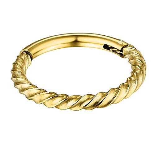 Gold eloxiert weiter verdrehtes Seil 14 Gauge - 8MM L?nge 316L Chirurgenstahl Clicker klappbar Segment Ring Piercingschmuck