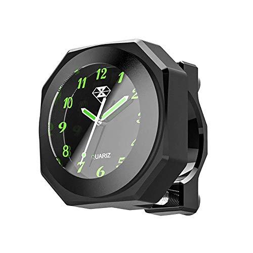 Folconauto Motorrad Fahrradzubehör Lenkerhalterung Watch, wasserdichte nachtleuchtende Digitaluhr Lenkeruhr Universal (schwarz)