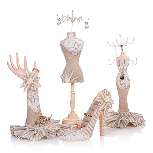 Organizadores de joyeros Titular de la joyería Collar Colgante Pendiente Pulsera Anillos Orgaziner Zapato Vestido Soporte de exhibición Set 4 unids para Decoraciones para Las niñas