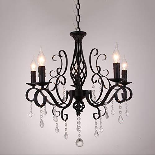 Lámpara de techo LED de cristal europeo, vintage, de hierro forjado, color negro, para restaurante, dormitorio, lámpara de techo, moderna para el hogar, ahorro de energía (5 lámparas)