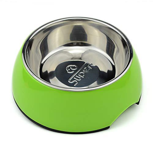 PLL Design-hondenmand met dubbellaags voederbak voor honden met kattenbak van roestvrij staal met unieke voederbak voor hoge en lage temperaturen.
