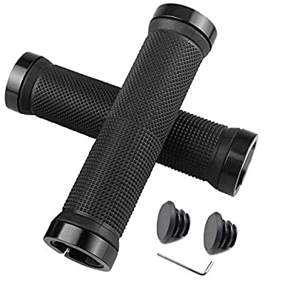 HFS CQQ Bike Handlebar Grips,Double Lock on Bicycle Handle Bar,Soft and Comfortable Rubber Handle,Suitable for Bicycle Handles of BMX, Mountain, MTB