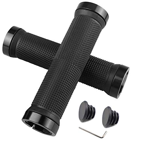 HFS CQQ Bike Handlebar Grips,Double Lock on Bicycle Handle Bar,Soft and Comfortable Rubber Handle,Suitable for Bicycle Handles of BMX, Mountain, MTB(Black)