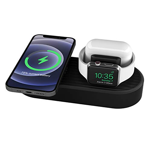 seacosmo Stazione di Ricarica 3 in 1 Compatibile con Caricatore Magnetico MagSafe, Supporto in Silicone per Apple Watch iPhone Airpods,Dock Station per iPhone 12/12 PRO/SE/XS Max/XR/X/8/8plus Nero