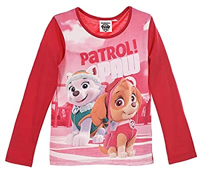 Paw Patrol Nickelodeon - Camiseta oficial de manga larga para niña, 100% algodón, 2-8 años, 2018/19 Rosa Fushia 2-3 Años por