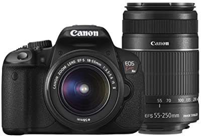 Canon DSLR Camera EOS Kiss X6i with EF-S18-55mm/EF-S55-250mm - International Version (No Warranty) from Canon