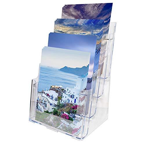 Kurtzy A4 Literatuur Houder - 4 Vaks (23x34.5x17cm) Helder Acryl Brochure Display Standaard met 2 Gaten - Desktop en Muur Montage Voor Folders, Flyers, Tijdschriften en Catalogi