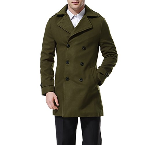 AOWOFS - Abrigo para hombre con doble botonadura para gabardina, abrigo clásico