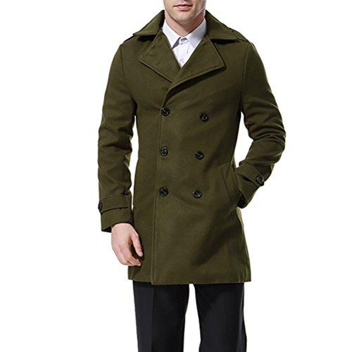 AOWOFS Men's Double Breasted Overcoat Pea Coat Classic Wool Blend Winter Coat Green