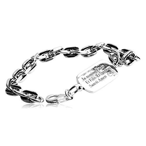 AnazoZ Bracelet Gros Maille Homme Argent 925 'In nomine Patris, et Filii, et Spiritus Sancti. Amen' Rétro Punk