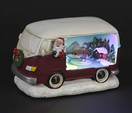 Life Is Good Grande Navidad Papá Noel Caravana con LED Hielo Patinadores Carrusel 21cm Largo