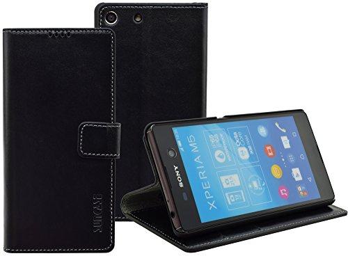 Sony Xperia M5 | Suncase Book-Style (Slim-Fit) Ledertasche Leder Tasche Handytasche Schutzhülle Hülle Hülle (mit Standfunktion & Kartenfach) schwarz