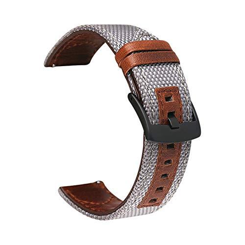 YGGFA Correa de Nylon de Cuero Genuino 20 mm 22 mm 24 mm Banda de Reloj para Samsung Galaxy Watch Active2 Gear S2 S3 para Huawei GT 2 Amazfit BIP (Band Color : Grey, Band Width : 22mm)