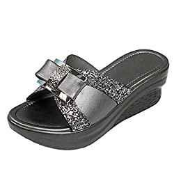 Rhinestone Bow Slip On Open Toe Slides Grey Sandal