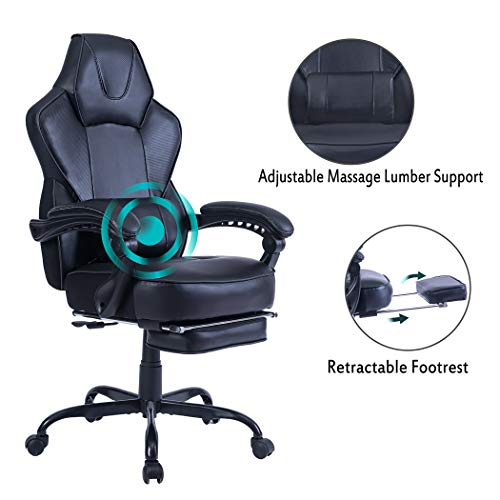 HEALGEN Reclining Gaming Chair with Large Lumbar Support Cushion Racing Style Video Game PC Computer Gamer Gaming Chairs Ergonomic Office High Back Chair with Headrest (9085-Black) black chair gaming