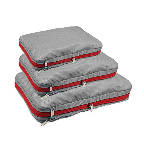 Packing Cubes Travel Organizer Compression Bag Hard Side Easier Pack Fit in Carry on Suitcase Portable Large Capacity Sorting with Zipper (18-Grey, M)