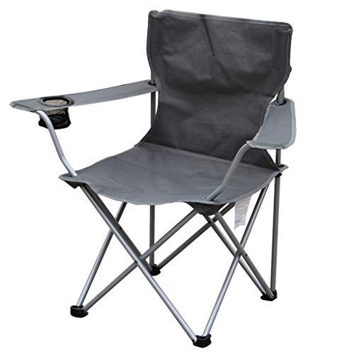 AOIWE Titular Silla Silla Plegable Plegable Que acampa Festival de Camping al Aire Libre con la Taza portátil Compacto Pesca Sillón Beach, Gris