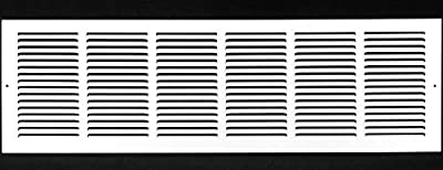 "36""w X 10""h Steel Return Air Grilles - Sidewall and Ceiling - HVAC Duct Cover - White [Outer Dimensions: 37.75""w X 11.75""h]"