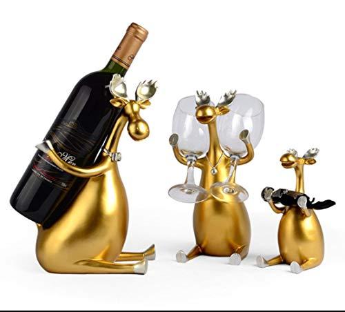 YAOJII 3 stks/set hars rode wijnrek herten familie fles houder hars beeldjes miniaturen meubels artikelen decoratie