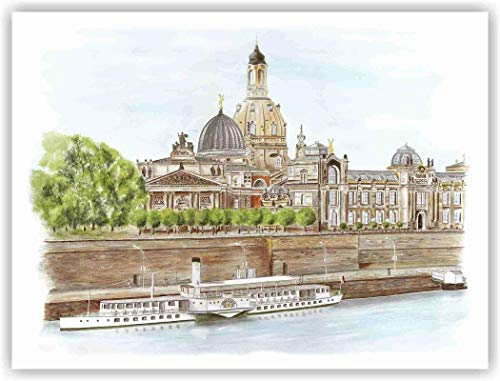 Dresden - Frauenkirche mit Terrassenufer - original signierter Kunstdruck von einem handgemalten Acrylbild von Michael Richter - Dresden, Bild - Wandbild - Kunstruck