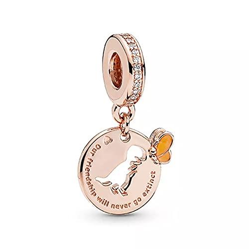 LIIHVYI Pandora Charms para Mujeres Cuentas Plata De Ley 925 Joyas De Accesorios De Saurio De Oro Rosa Compatible con Pulseras Europeos Collars