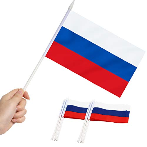 Anley Russia Mini Flag 12 Pack - Hand Held Small Miniature Russian Flags on Stick - Fade Proof & Vivid Colors - 5x8 Inch with Solid Pole & Spear Top