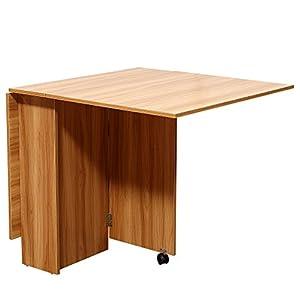 HOMCOM Mesa Plegable con Ruedas Estante Multifuncional para Comedor Salón Mesa Auxiliar 3 Formas Espacio Ahorrado Madera