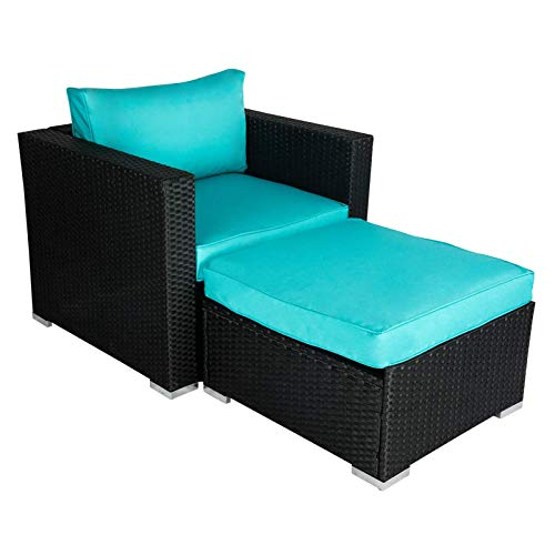 Wicker Furniture Single Chair with Ottoman, All Weather Black PE Wicker Additional Seats for Sectional Sofa